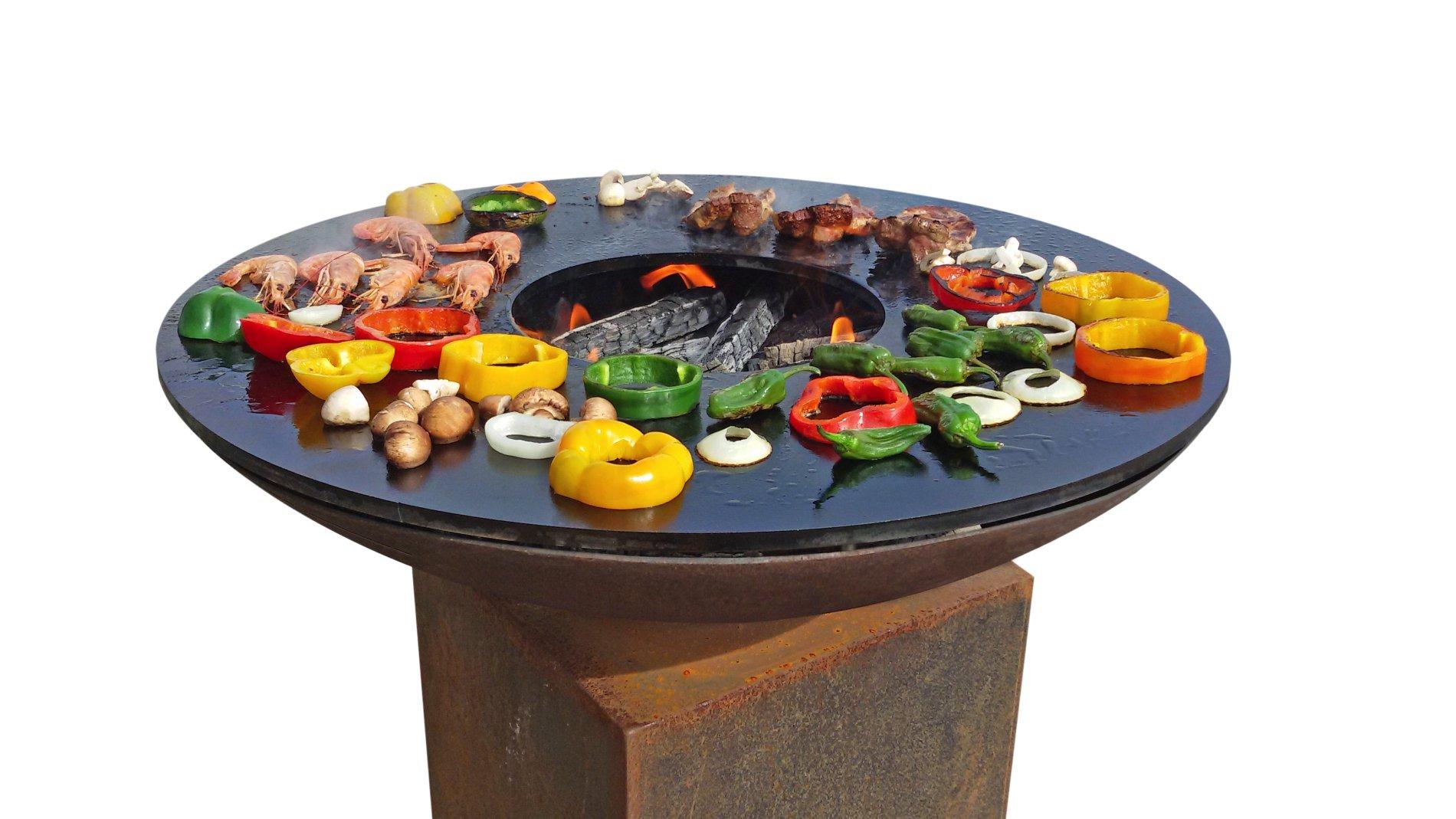 Enlever Rouille Sur Plancha En Fonte foyer sur socle avec plaque de cuisson Ø100 cm | piscineshop.be