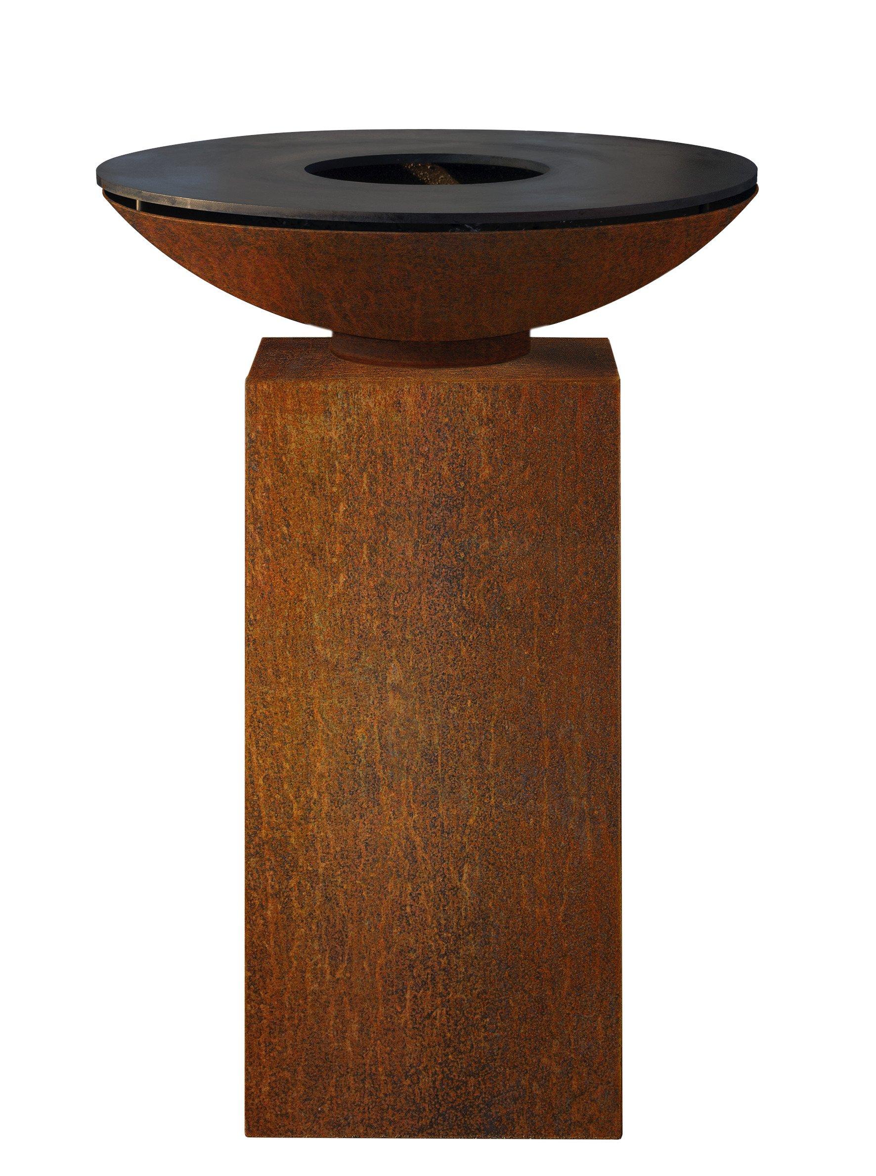 Enlever Rouille Sur Plancha En Fonte foyer sur socle avec plaque de cuisson Ø80 cm | piscineshop.be