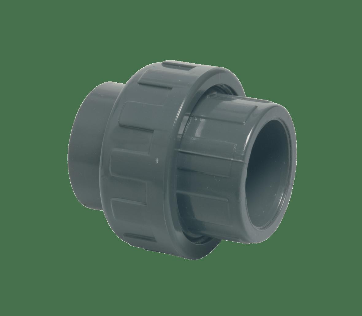 Raccord union 3/3 en PVC rigide de 63 mm de diamètre