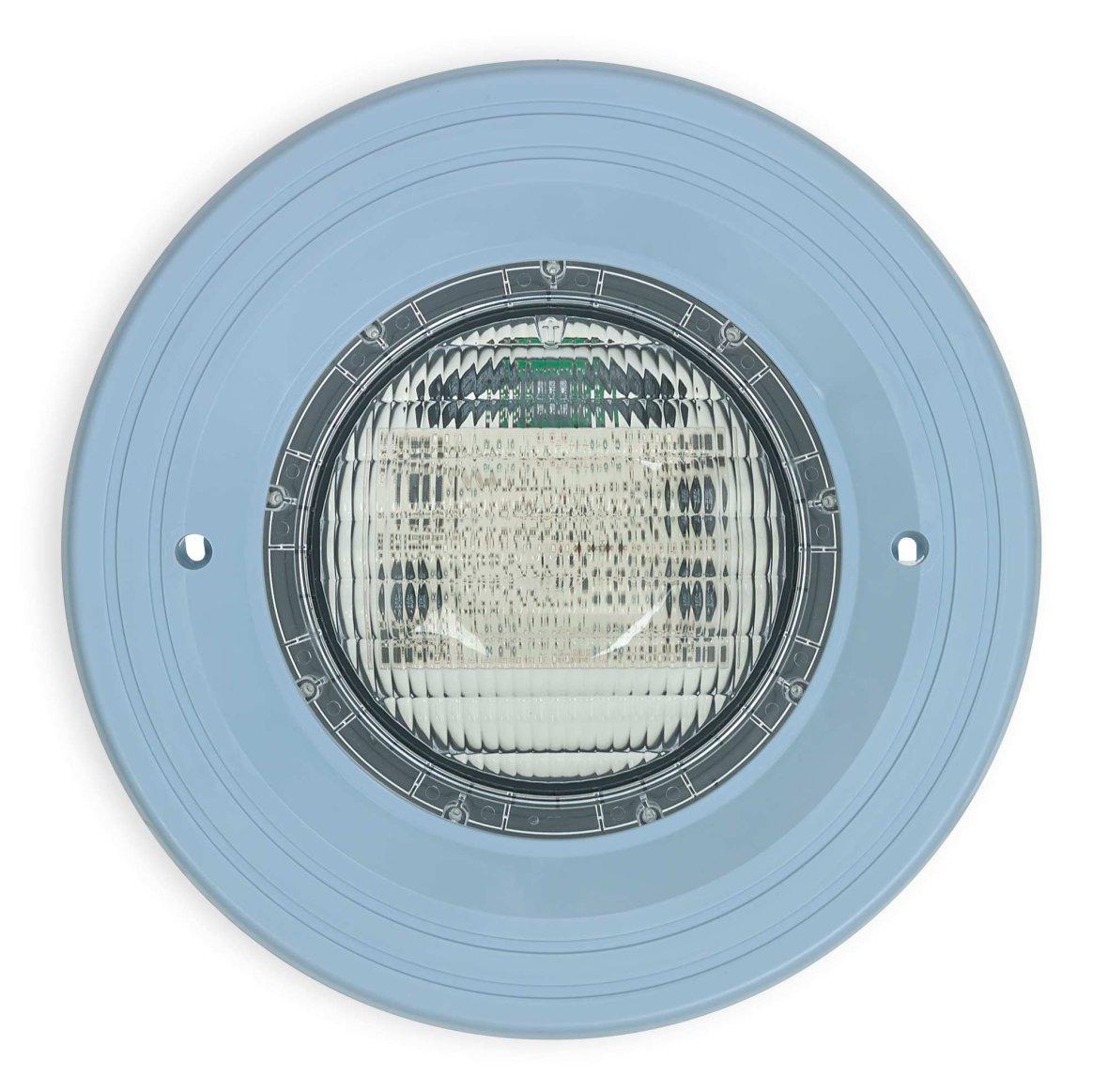 Éclairage LED à cadre bleu clair pour piscines.
